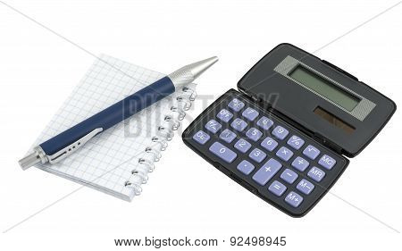 Calculator, Pen Laying On Blank Notebook