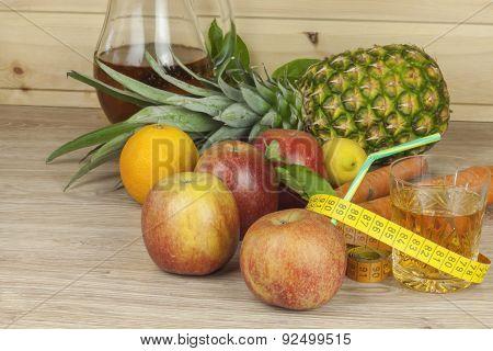 diet food, apple juice, vegetables and fruits, concept diet, vitamin supplements