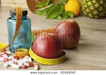 diet food, apple juice, vegetables and fruits, concept diet, vitamin supplements