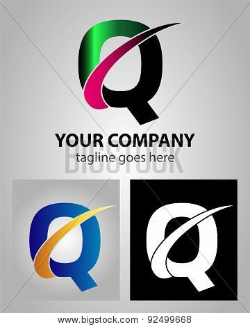 Abstract icon logo for letter Q