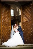 pic of wedding  - Portrait of a young wedding couple on their wedding day - JPG