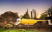 pic of gautama buddha  - old Temple Reclining Buddha Wat Yai Chai Mongkol at Ayutthaya Thailand World Heritage Site - JPG