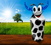 pic of milk  - White carton milk with black spots with text Milk in the shape of horns - JPG