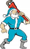 pic of nicholas  - Illustration of a muscular santa claus saint nicholas father christmas carrying monkey wrench wearing blue suit looking to the side set on isolated white background done in cartoon style - JPG