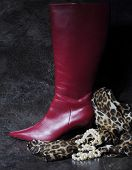 picture of lady boots  - Tall ladies red high hells boots with animal print scarf and pearl necklace against a dramatic black slate background still life - JPG