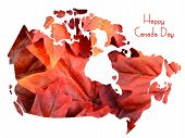 image of happy day  - Red Maple Leaves in shape of Canada map on white background with Happy Canada Day sample text - JPG