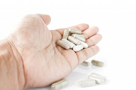 stock photo of overdose  - overdose and had a pills in hand - JPG