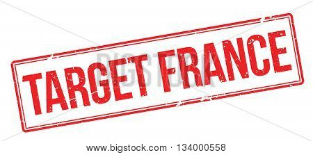 Target France Red Rubber Stamp On White