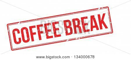 Coffee Break Red Rubber Stamp On White
