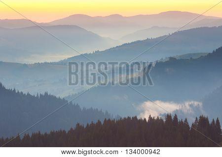 One minute before sunrise, Mountains range Landscape background
