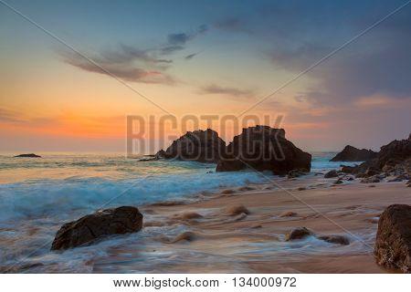 Amazing Sea Landscape at beautiful sundown time, Portugal, Europe