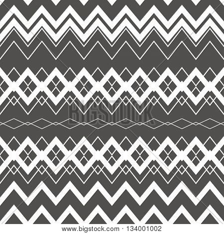 Tribal Boho Seamless Pattern. Ethnic Geometric Ornament. Vintage Vector Seamless Background. Boho Texture for Fabric, Wallpaper and Wrapping. Black and White Pattern.