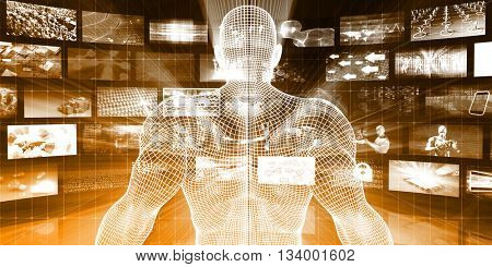 Security Network with System Admin Scanning Data Packets 3d Illustration Render