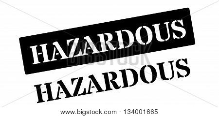 Hazardous Red Rubber Stamp On White