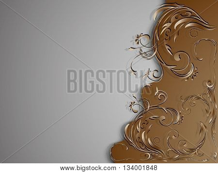 Vintage brown gray background with floral ornament on the right side of the picture, vector illustration