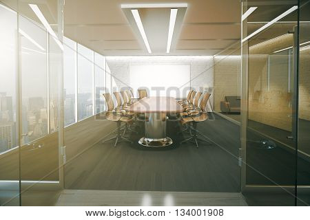 Open glass door revealing modern conference room interior with ceiling lamps blank whiteboard on brick wall wooden floor and panoramic window with city view. 3D Rendering