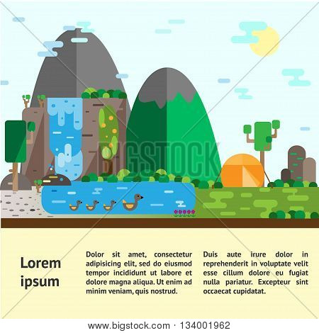Eco-tourism. Hills landscape and camping Eco flat vector illustrations. Can be used for flyers postcards banners etc.