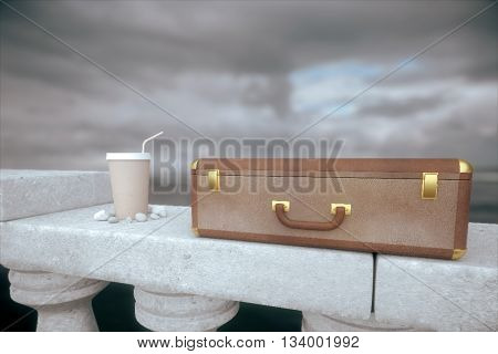 Clouseup of closed suitcase and coffee cup with straw on concrete bridge railing with stormy sky in the background. 3D Rendering