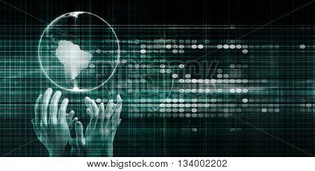Global Connection and Communications Platform System Art 3d Illustration Render
