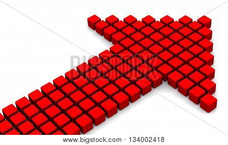 Arrow symbol from red cubes. Red arrow symbol from cubes. Isolated. 3D Illustration