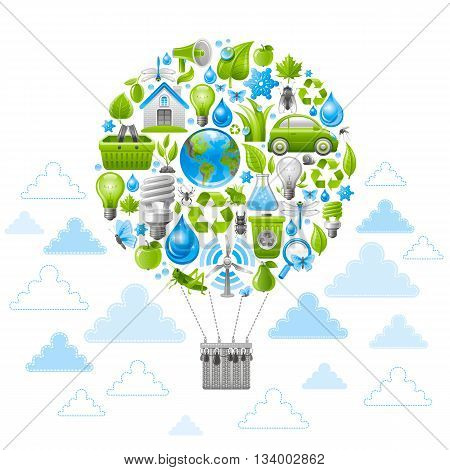 Ecological set with vintage baloon for air travel and green icons. Environment protection concept with recycling symbol, Earth globe, garbage can, electric car, light bulb, insect, wind turbine, water