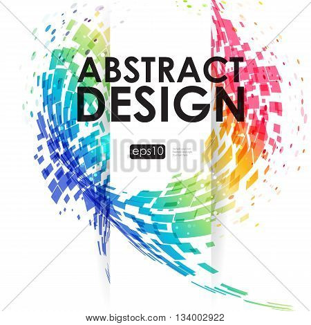 Abstract background with movement geometric elements colorful composition