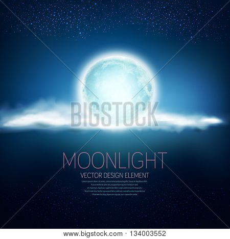 vector background with a full moon and clouds on a dark blue background