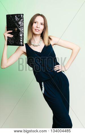 Stylish Woman Fashion Girl Holding Black Handbag