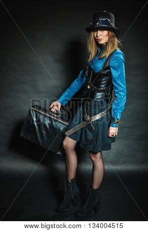 Steampunk Girl With Retro Bag.