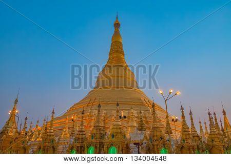 Shwedagon Golden Pagoda Yangon Myanmar Southeast Asia