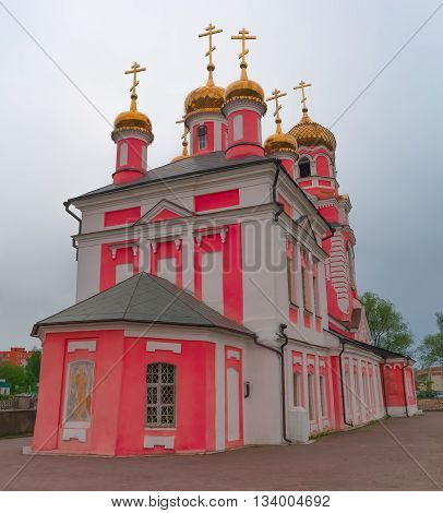 Beautiful pink Church of the Presentation of the Lord Dmitrov Moscow region Russia