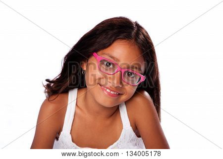 Cute happy smiling Latina Hispanic girl with pink glasses on white background.