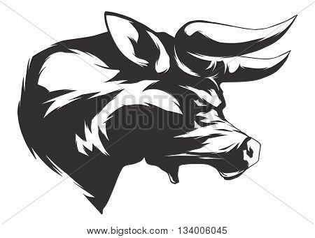 Bull head. Monochromatic logo for your t-shirt.