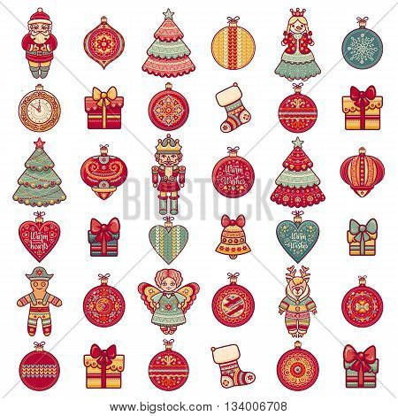 Merry Christmas toys. Greeting card. Christmas and New Year design elements. Balls, Santa Claus, socks, gift box. Christmas tree, Reindeer. Holiday text lettering.