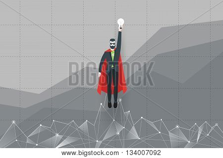 Abstract businessman in a suit superhero flies upward like a rocket. Startup concept. Trendy modern flat vector illustration.