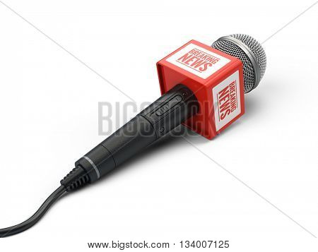 Breaking news microphone isolated on white. 3d render