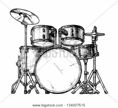 Vector hand drawn illustration of drum kit. isolated on white
