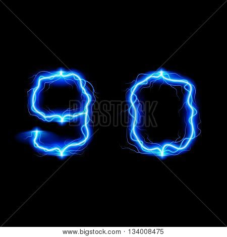 Numbers 9 and 0 in lighting style