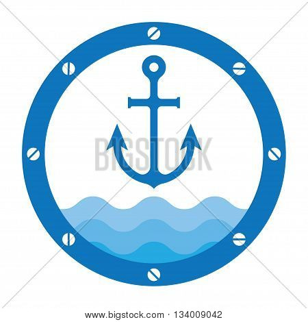 anchor in porthole on the waves vector illustration background