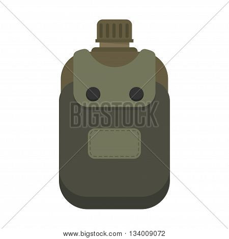 Army water canteen with case icon. Vector illustration of military canteen or flask.