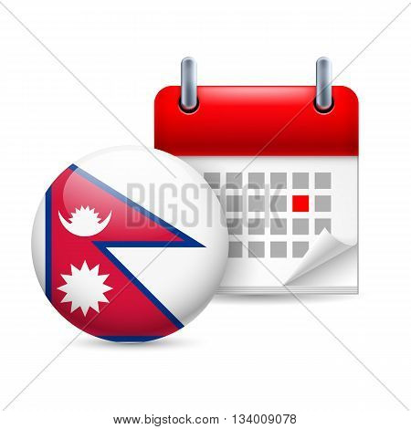 Calendar and round Nepalese flag icon. National holiday in Nepal