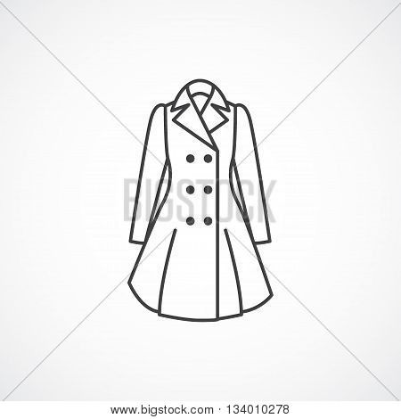 Women's trench coat icon. Vector line fashion clothes icon isolated on white background