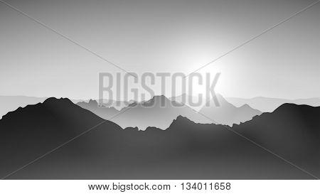 black color vector illustration of mountains in fog