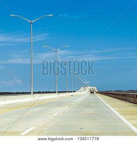 Empty Bridge At Bay St. Louis In Mississippi In The Midday Heat