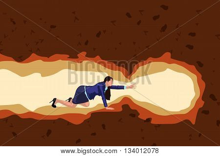 illustration of businesswoman crawl in cave color
