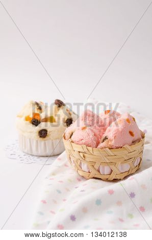 Thai Dessert, Thai Steamed Cup Cake Or Cotton Wool Cake With Fabric Background