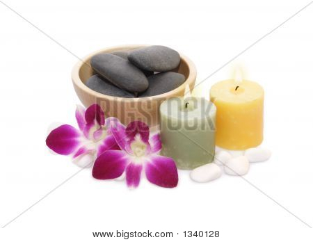 Orchids, Candles And Pebble