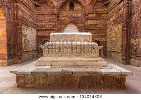 Islamic Grave With Inscriptions At Qutub Minar In Delhi, India