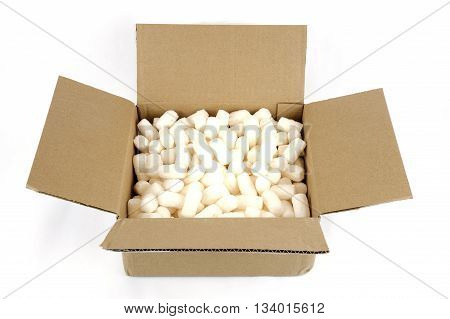 cardboard shipping box with Styrofoam on white background
