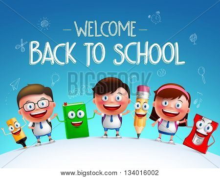 Kid students vector characters and funny school items mascot happy holding each other in a horizon for back to school background. Vector illustration